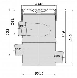 Maße des WFF 100 ohne Verlängerungsrohr in mm.