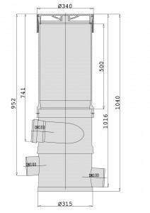 Maße des WFF 100 mit Verlängerungsrohr in mm.