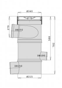 Maße des WFF 150 ohne Verlängerungsrohr in mm.