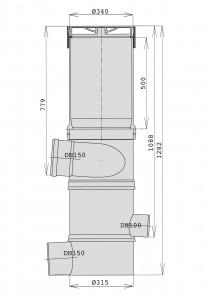 Maße des WFF 150 mit Verlängerungsrohr in mm.