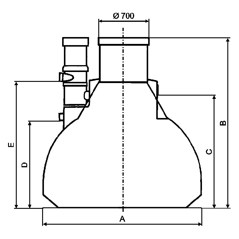 Cistern for rainwater, dimensional drawing